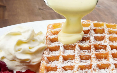 Belgian Waffle Recipe with Raspberries and Custard