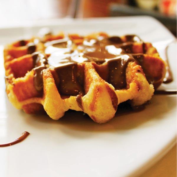 Sephra waffles with chocolate fondue