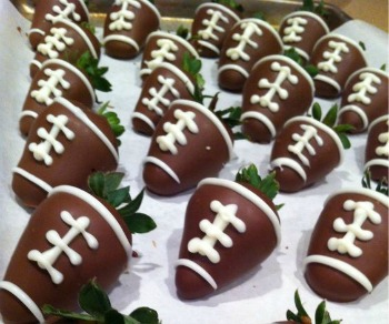 Chocolate Covered Strawberries decorated like footballs