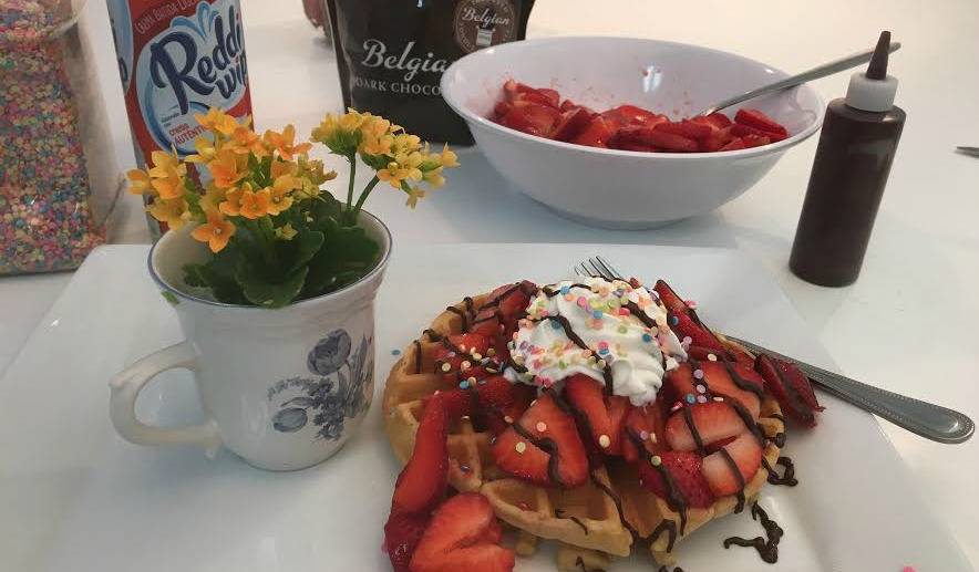Strawberry Waffles with Chocolate Drizzle